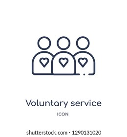 Linear voluntary service icon from Charity outline collection. Thin line voluntary service vector isolated on white background. voluntary service trendy illustration