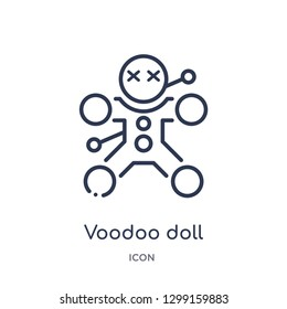 Linear voodoo doll icon from Magic outline collection. Thin line voodoo doll icon isolated on white background. voodoo doll trendy illustration