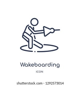 Linear wakeboarding icon from Free time outline collection. Thin line wakeboarding icon vector isolated on white background. wakeboarding trendy illustration