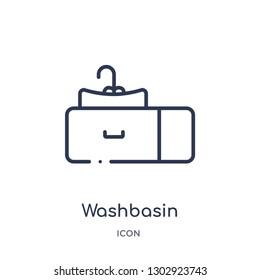 Linear washbasin icon from Hygiene outline collection. Thin line washbasin icon isolated on white background. washbasin trendy illustration