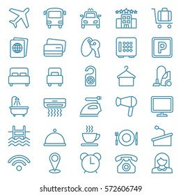 Linear web icon set of hotel services. Vector illustration
