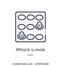Linear whack a mole icon from Entertainment outline collection. Thin line whack a mole icon isolated on white background. whack a mole trendy illustration