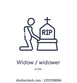 Linear widow / widower icon from Family relations outline collection. Thin line widow / widower icon vector isolated on white background. widow / widower trendy illustration