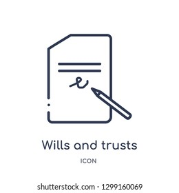 Linear wills and trusts icon from Law and justice outline collection. Thin line wills and trusts icon isolated on white background. wills and trusts trendy illustration