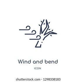 Linear wind and bend trees icon from Meteorology outline collection. Thin line wind and bend trees icon isolated on white background. wind and bend trees trendy illustration