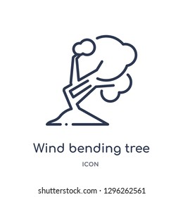 Linear wind bending tree icon from Ecology outline collection. Thin line wind bending tree icon vector isolated on white background. wind bending tree trendy illustration