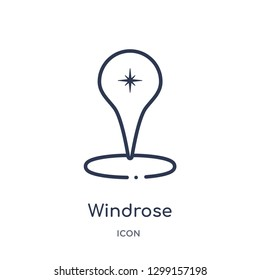 Linear windrose icon from Map and location outline collection. Thin line windrose icon isolated on white background. windrose trendy illustration