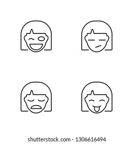 Linear Winking, Sad, Sceptic, Goofy Vector Illustration Of 4 outline Icons. Editable Pack Of Winking, Sad, Sceptic, Goofy