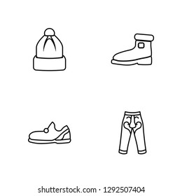 Linear Winter Hat, Sleepers, Wool Boots, Harem Pants Vector Illustration Of 4 outline Icons. Editable Pack Of Winter Hat, Sleepers, Wool Boots, Harem Pants