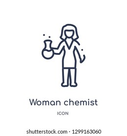 Linear woman chemist icon from Ladies outline collection. Thin line woman chemist icon isolated on white background. woman chemist trendy illustration