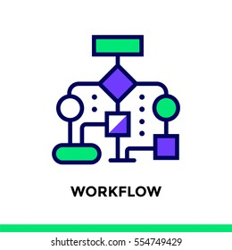 Linear workflow icon for new business. Pictogram in outline style. Vector flat line icon suitable for mobile apps, websites  and illustration