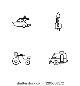 Linear Yatch, Motorbike, Rocket, Caravan Vector Illustration Of 4 outline Icons. Editable Pack Of Yatch, Motorbike, Rocket, Caravan