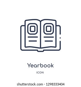 Linear yearbook icon from General outline collection. Thin line yearbook icon isolated on white background. yearbook trendy illustration