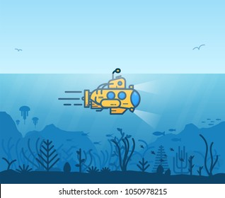 Linear yellow submarine swimming under the ocean with periscope. Underwater inhabitants. Underwater ocean scene. Deep blue water, coral reef and sea plants and fish. Modern line illustration.