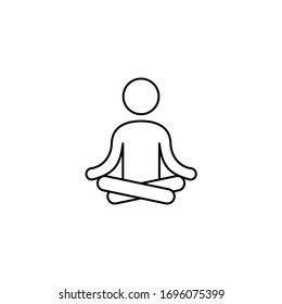 linear yogi in lotus position icon. concept of concentration, standing serenity, stretching workout, on-line teach harmony, learning sport in spa, office or home. black simple sign on white background