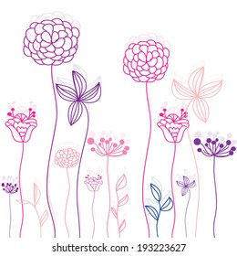 linear-in-pink background with decorative flowers and beautiful