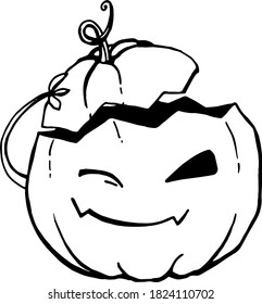 Lineart coloring vector pumpkin winks and takes off its hat as a greeting. Illustration isolated on white