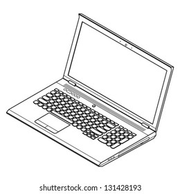 Line-art detailed isometric drawing of a full featured mobile workstation or gaming laptop computer. Expanded paths. No fills.