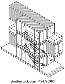 Line-art drawing of a house/building made out of shipping containers.
