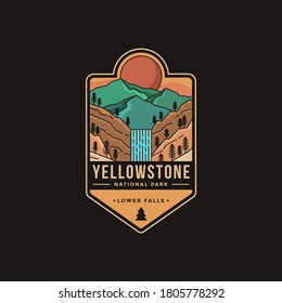 Lineart Emblem patch logo illustration of Lower falls Yellowstone National Park