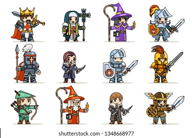 Lineart fantasy set rpg game heroes character icons vector flat design vector illustration
