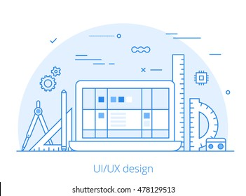 Lineart Flat UI/UX interface design web site hero image vector illustration. User experience, projecting and testing app and software concept. Laptop, digitizer, rulers and wireframe