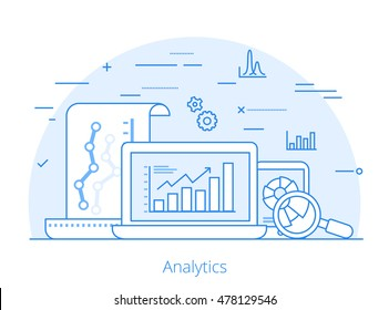 Lineart Flat visitor analytics website hero image vector illustration. SEO, SMM and online marketing concept. Laptop, tablet with report data on screen.