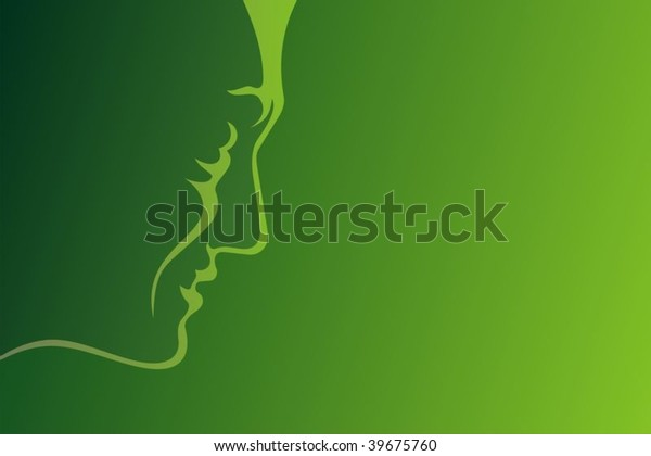 Line-art profile of mature man on green background