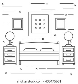 Lineart simple flat bedroom black and white illustration