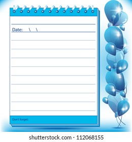 Lined Block notes page in blue shades with balloons