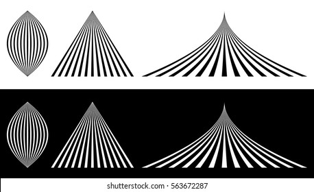 Lined elements - Almond, triangle and bent triangle. Merging, converging lines