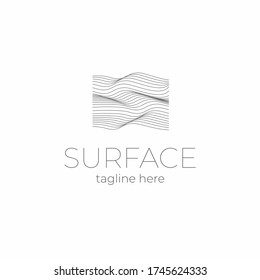 Lined field abstract logo template.  Abstract stripes line wavy field pattern. Topography logo. Relief logo. Mesh surface. Geology layers. Topographic line map.