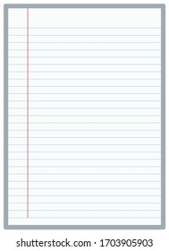 Lined graph  paper. A4 size striped notebook paper vector illustration