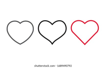 Lined heart shape symbol, on a white background