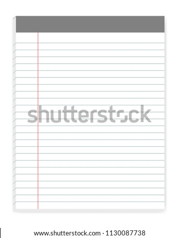 lined letter format writing pads with margin vector mock up sticky notes mockup
