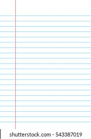 Lined paper from a notebook on white background. Notebook paper.