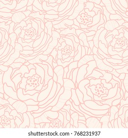 Lined peonies seamless pattern. Outline peony in soft pink color background. Vector illustration. Abstract surface pattern design. All over printing.
