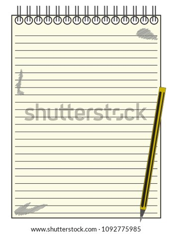 lined reporters blank notepad template background stock vector