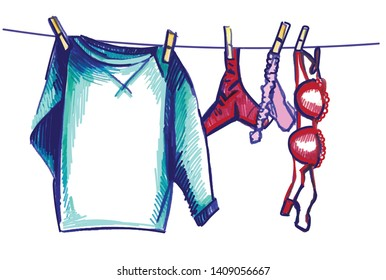 Linen is dried on a rope. Panties are dried on a string. Sketch, colorful.