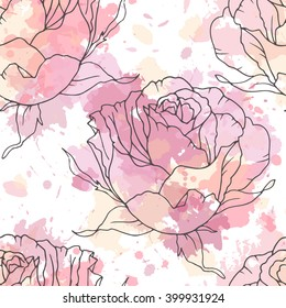 Linen hand drawn rose seamless vector pattern on paint spots background