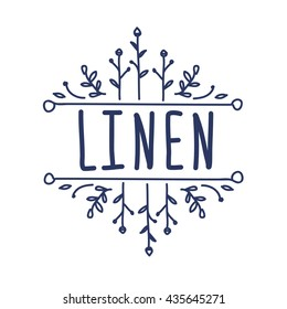 Linen logo with hand-drawn elements, vector