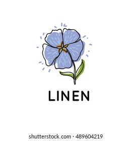 Linen. Logotype template.Blue flower of flax.Vector image in Doodle style. Flax.Logo for the textile material, of identity creation.
