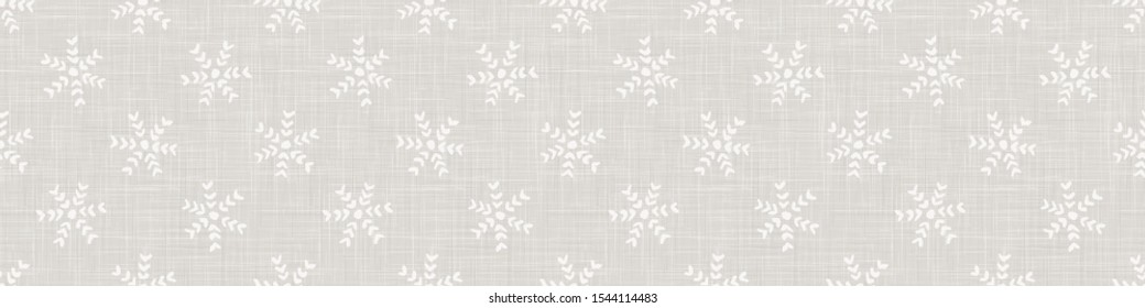 Linen Texture Border Background with White Winter Snowflake. Gray Marl Seamless Pattern. Holiday background Trim. Simple Snowy Scandi Hygge Mood. Cozy Scandinavian Nordic Banner. Vector EPS10