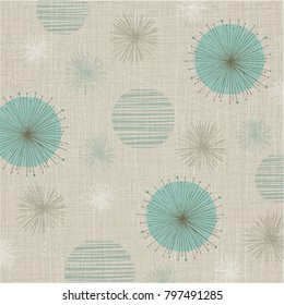 Linen textured weave with vintage flowers in a soft color palette of teal and bronze. Retro style inspired by mid-century modern fabrics