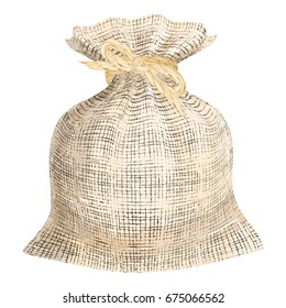 Linen woven fabric sack. Flax texture bag with linen string ribbon binding vector illustration.