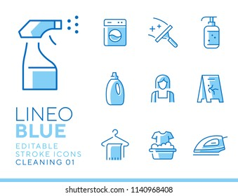 Lineo Blue - Cleaning and Housework line icons