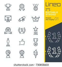 Lineo Editable Stroke - Awards and Trophy line icons Vector Icons - Adjust stroke weight - Expand to any size - Change to any colour