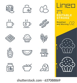 Lineo Editable Stroke - Breakfast and Morning outline icons. Vector Icons - Adjust stroke weight - Expand to any size - Change to any colour