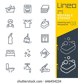 Lineo Editable Stroke - Cleaning and Housework line icons Vector Icons - Adjust stroke weight - Expand to any size - Change to any colour