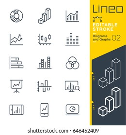 Lineo Editable Stroke - Diagrams and Graphs line icons Vector Icons - Adjust stroke weight - Expand to any size - Change to any colour